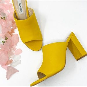 Steve Madden Esmeralda Leather Yellow Peep Toe NWT